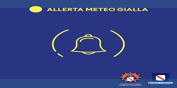 Campania: Allerta Meteo Gialla per 24 ore su tutta la regione dalla mezzanotte di oggi