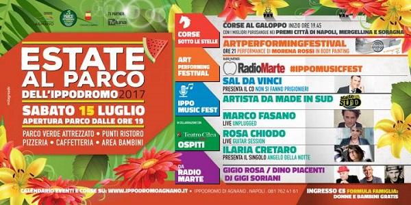 Napoli: sabato 15 all'Ippodromo serata all'insegna della musica e del divertimento.