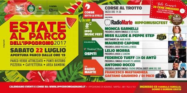Napoli: sabato 22 luglio serata di musica e festa all'Ippodromo di Agnano.