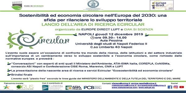 Napoli: sostenibilità ed economia circolare nell'Europa del 2030. Evento alla Federico II