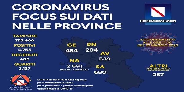 Campania: Covid-19, riparto provinciale dei tamponi, numero decessi e numero guariti