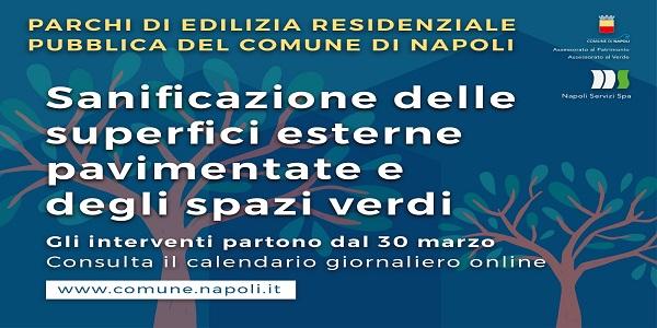 Napoli: sanificazione delle superfici esterne e degli spazi verdi interni ai parchi di E.R.P