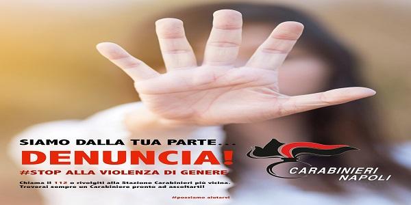Napoli e Prov.: Il Comando Provinciale CC espone un poster contro violenza di genere